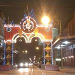 Downtown Galveston at night -- getting ready for Mardi Gras