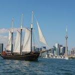 Kajama sailing past the Toronto skyline