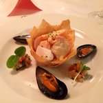 Chilled Mediterranean Seafood Panache Lobster , mussel , salmon, and prawn cooked with white win