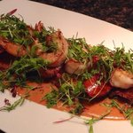 Fried Green Tomatoes, Shrimp, Andouille, Cajun BBQ Sauce!
