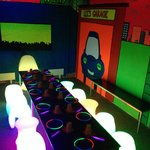Glow in the dark party room at Kids'n'Action