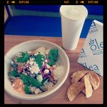 An Olea Combo Meal... any entree paired with a bag of pita chips & a drink