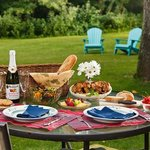 Delightful picnic dinners can be enjoyed outside or inside