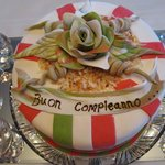 Italian-themed birthday cake