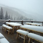 Lodge deck at the base of Grouse & Larkspur lifts.
