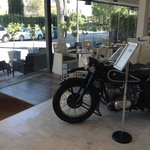 A 1938 BMW Motorbike in the breakfast area