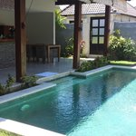 pool and kitchen