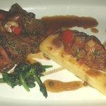 Rump of Lamb Cooked Pink Black Garlic Crust, Ratatouille, Aubergine Cream, Madeira Jus