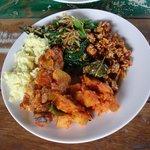 My plate of the food we prepared...
