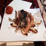 Entrée tempura gambas ombrina et anchois un délice !
