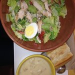 Chicken Cobb with Avocado and Potato Soup