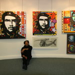 Raul at exhibition of political works