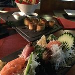 Prawn tempura, crab rolls, tuna and salmon sashimi