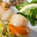 Saint jacques de nos côtes poelées et fondue de poireaux