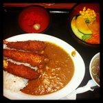 crevettes panées au curry, et riz, menu
