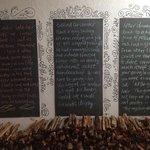 Chalkboard with beautiful words, inside restaurant