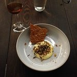 Beer Cheese with Puffed Toasted Wild Rice and a Brittle (for scooping!)