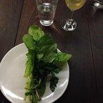 Salad- Hold like bouquet & eat! ;) w/BitterGreens&FreshHerbs, w/Huckleberry&Walnuts inside!