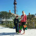 The kids and me by the lighthouse