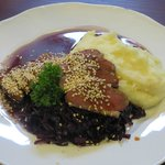 Sesame encrusted goose breast, with perfect mashed potatoes