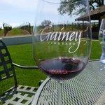 Outside overlooking the vineyard.