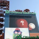 A Giant Photo of the Phanatic Greets you at the Left Field Gate