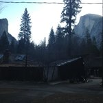 Halfdome in the morning with pavillion in background.
