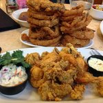 Onion rings and seafood platter