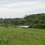 the jungle airfield and the plane