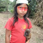 a Wao girl with her pet, a baby wooly monkey