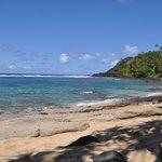 Pali Ke Kua beach. We snorkelled with turtles here!
