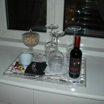 Half bottle of red wine, cashew nuts & chocs in the room