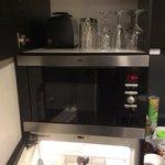 microwave, fridge, & glasses