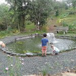 Children watching the fish & playing by the pond