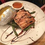 Salmon, Green Beans and Baked Potato