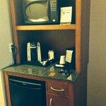 Microwave, Keurig and mini fridge