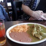 Chile verde w/ rice & beans