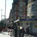 Warren Str tube station and the hotel (where the flag is)