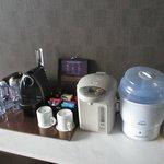 乳児を連れていたので、ポットや哺乳瓶消毒器は便利でした。ネスプレッソが部屋にあります。