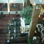 Overlooking indoor atrium, coffee shop