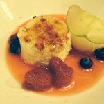 Their interpretation of crema catalana Also floating in some kind of watery jam and with fruits
