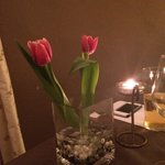 Table decorations fresh tulips beautiful