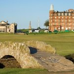 The Swilcan bridge and Royal and Ancient Clubhouse, Old Course, St Andrews