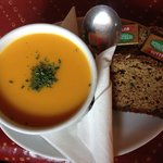 Carrot and Parsnip Soup with fantastic brown bread at The Blind Puper in Caherdaniel.