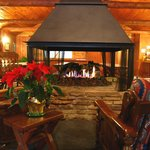 The central fireplace is the focal point of the main lounge.