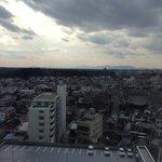 ホテルからの眺め。子供の頃境内で銀杏を拾ったお寺が見えた。
