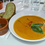 Red Pepper, tomato and basil soup
