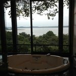 A bathroom with a serious view.