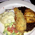 My wife enjoyed the mahi but not the big chili relleno (center) because I it stole from her plat