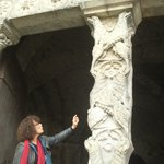 Elyse explaining the trumeau (pillar supporting the tympanum) at Abbey Moissac